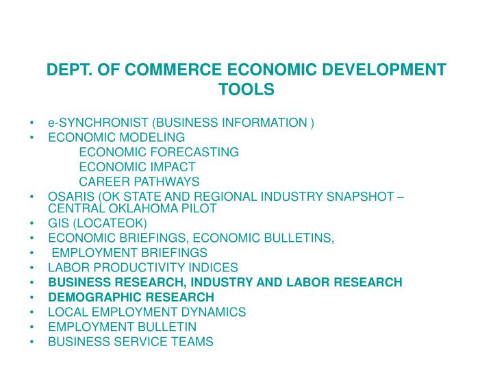 DEPT. OF COMMERCE ECONOMIC DEVELOPMENT TOOLS