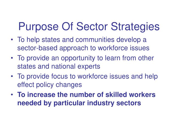 Purpose Of Sector Strategies