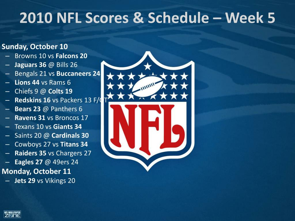 Ppt 2010 Nfl Scores Schedule Week 1 Powerpoint Presentation Id 7016200