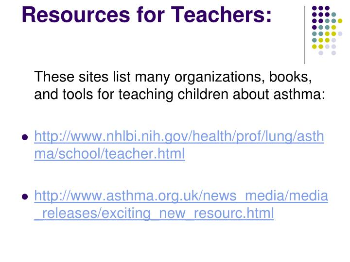 Resources for Teachers: