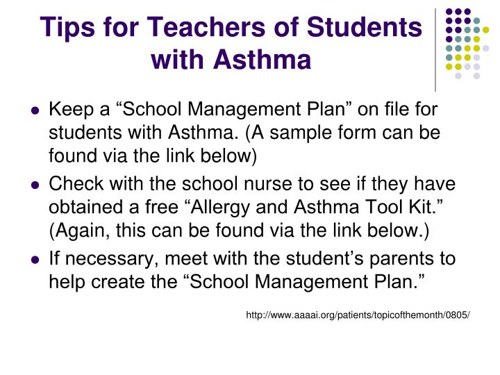 Tips for Teachers of Students with Asthma
