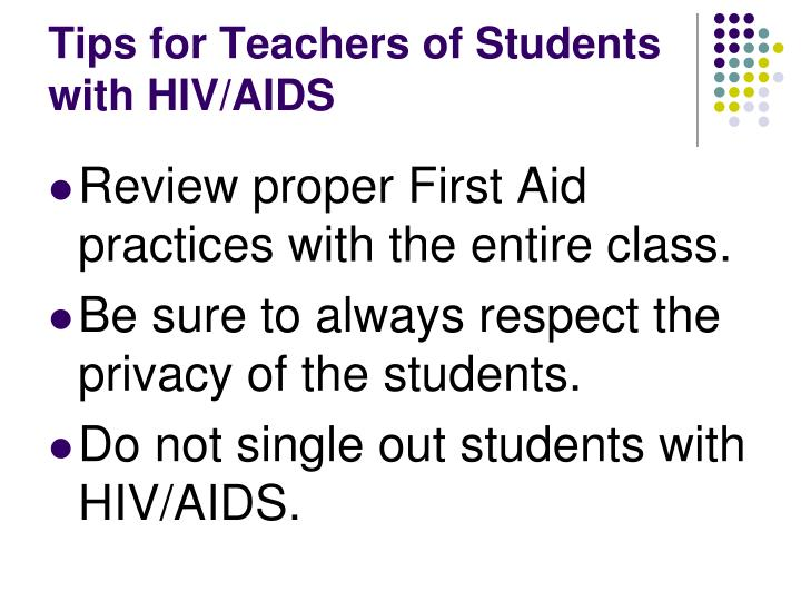 Tips for Teachers of Students with HIV/AIDS