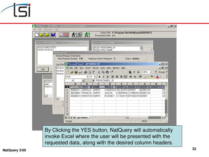 By Clicking the YES button, NatQuery will automatically invoke Excel where the user will be presented with the requested data, along with the desired column headers.