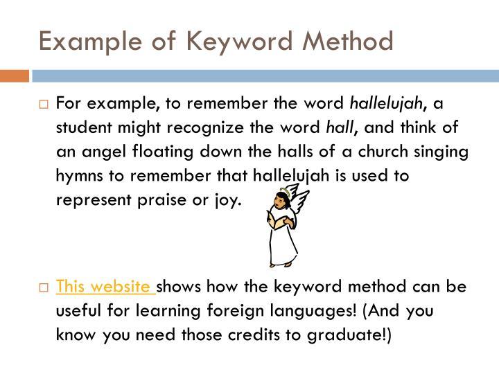 Example of Keyword Method