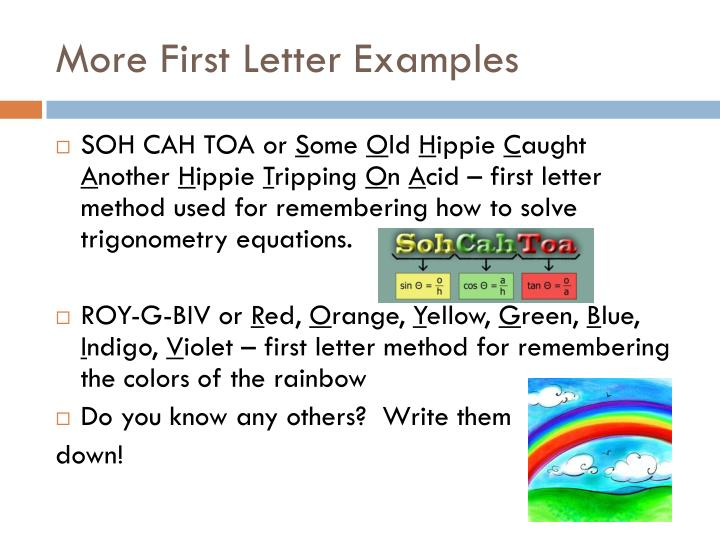 More First Letter Examples