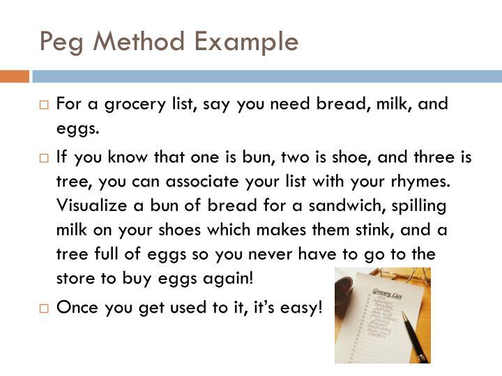 Peg Method Example