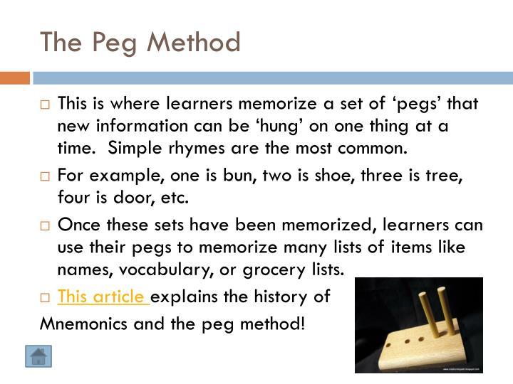 The Peg Method