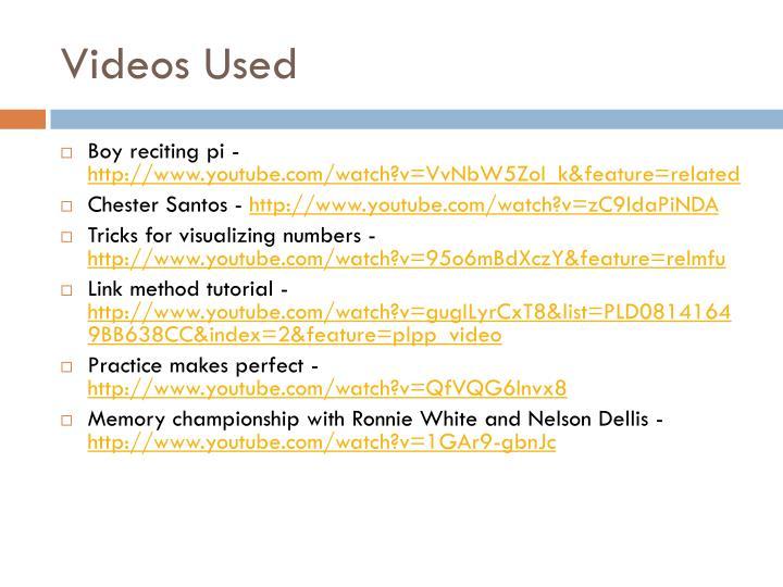 Videos Used