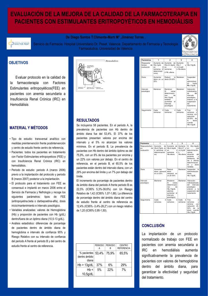 EVALUACIÓN DE LA MEJORA DE LA CALIDAD DE LA FARMACOTERAPIA EN PACIENTES CON ESTIMULANTES ERITROPOYÉTICOS EN HEMODIÁLISIS