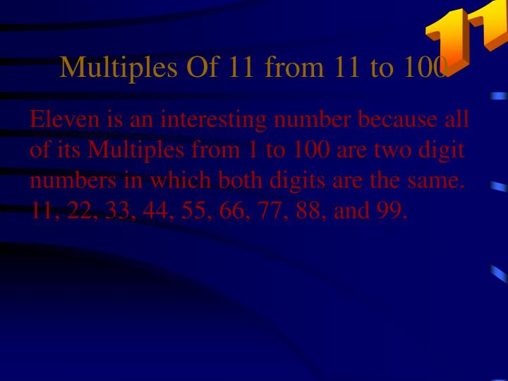 Multiples Of 11 from 11 to 100