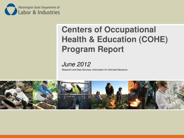 centers of occupational health education cohe program report