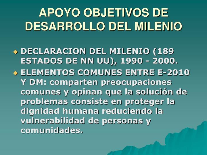 APOYO OBJETIVOS DE DESARROLLO DEL MILENIO