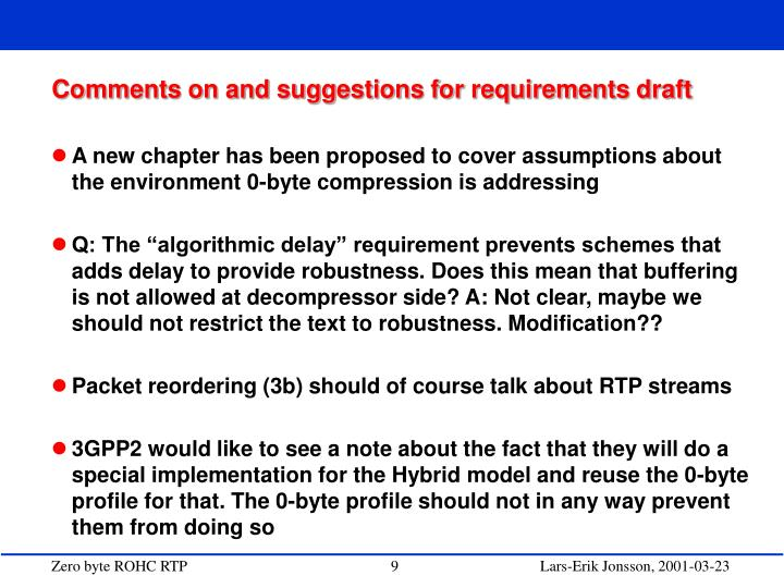 Comments on and suggestions for requirements draft