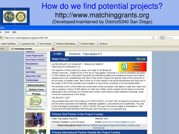How do we find potential projects?