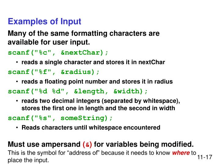 Examples of Input