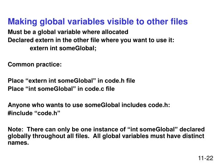 Making global variables visible to other files