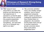 witnesses of research wrong doing joan e sieber and ann meeker o connell2