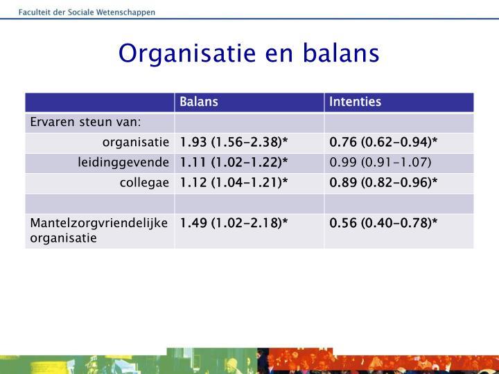 Organisatie en balans