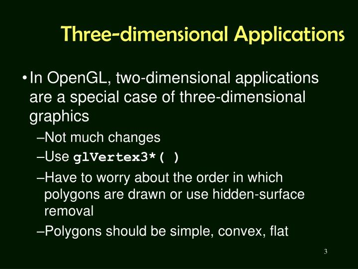Three dimensional applications