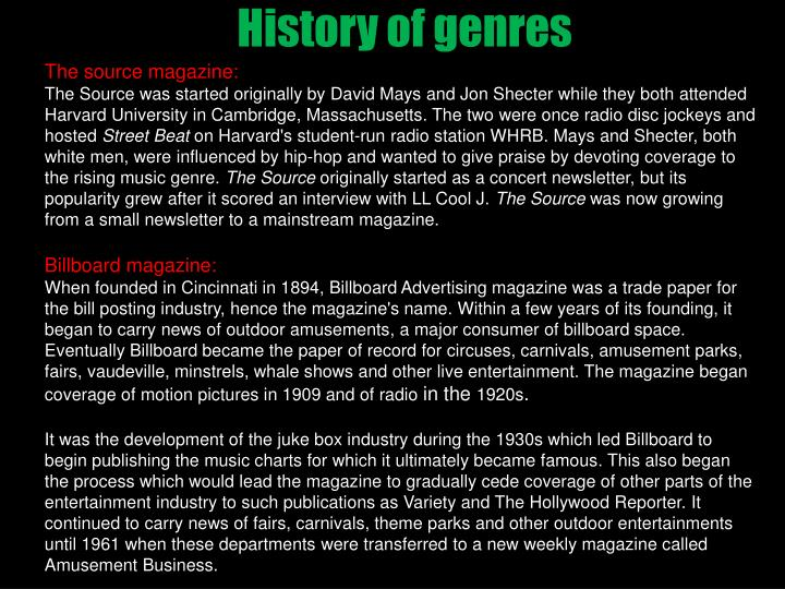 History of genres