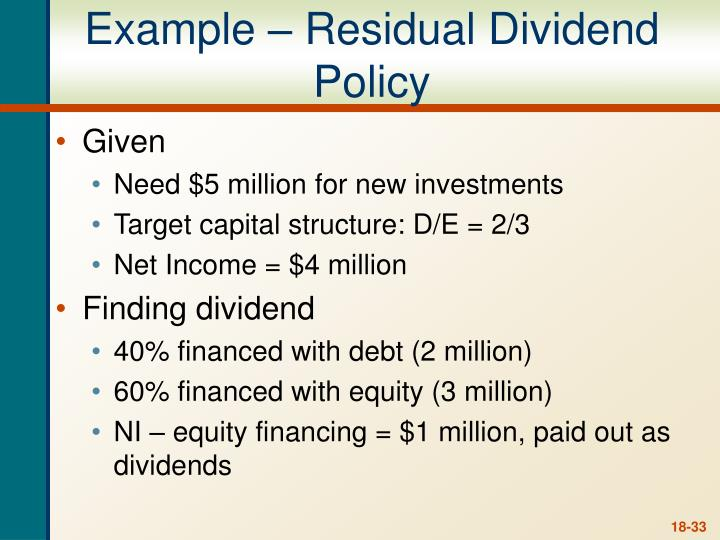 residual dividends essay Managerial finance – problem review set – dividends policy 1) if a firm adopts a residual distribution policy, distributions are determined as a residual after funding the capital budget.