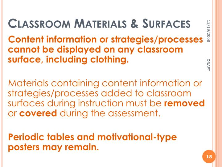 Classroom Materials & Surfaces