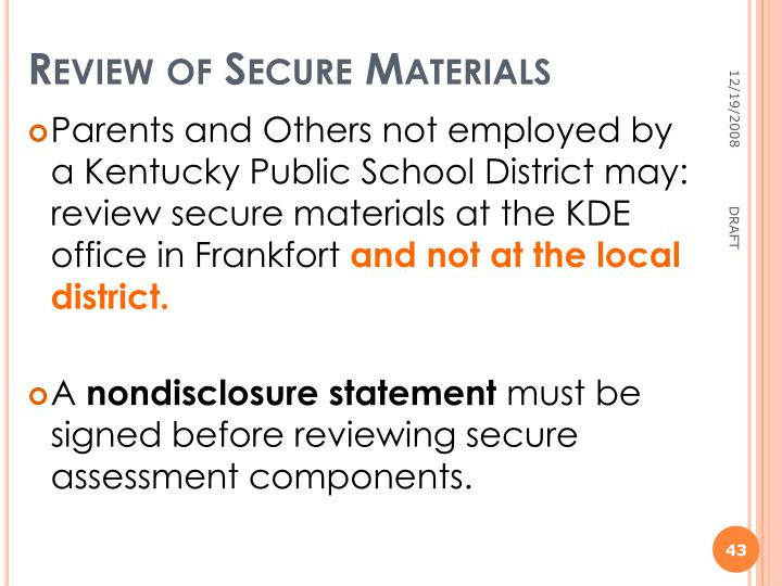 Review of Secure Materials