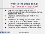 what is the dean doing top ten list july 2004