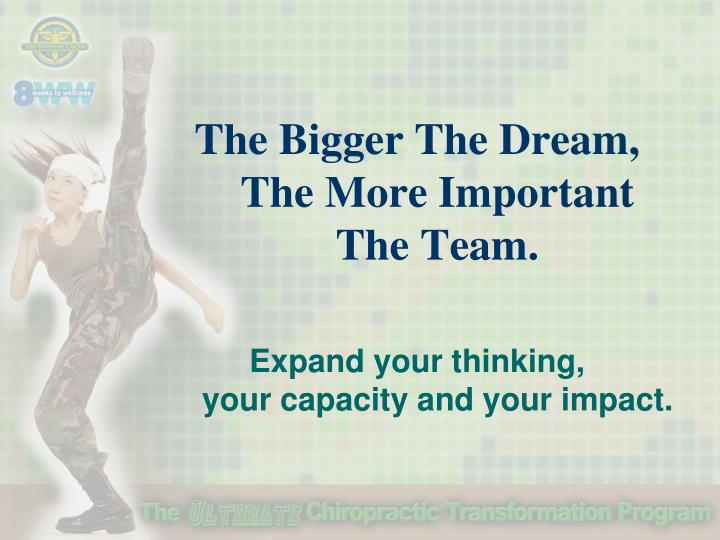 The Bigger The Dream,   The More Important    The Team.