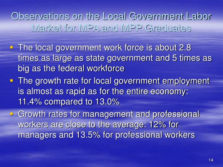 Observations on the Local Government Labor Market for MPA and MPP Graduates