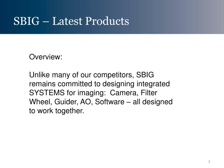 Sbig latest products1