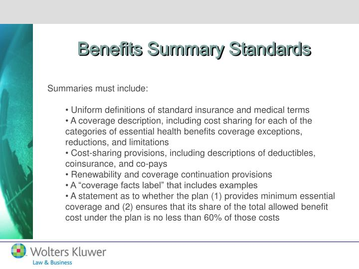 Benefits Summary Standards