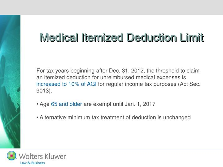 Medical Itemized Deduction Limit