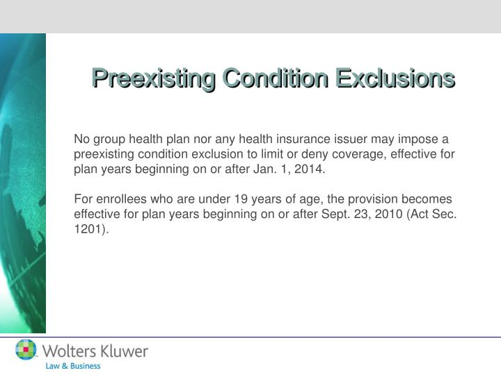 Preexisting Condition Exclusions