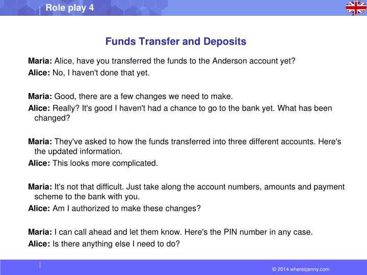 Funds Transfer and Deposits