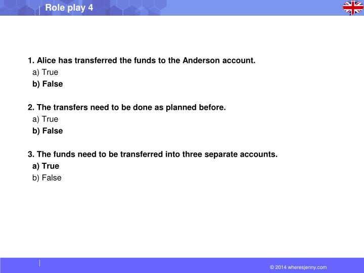 1. Alice has transferred the funds to the Anderson account.