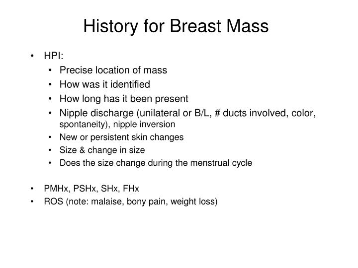 History for breast mass