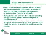 e tags and displacements