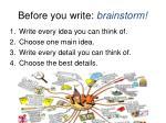 before you write b rainstorm