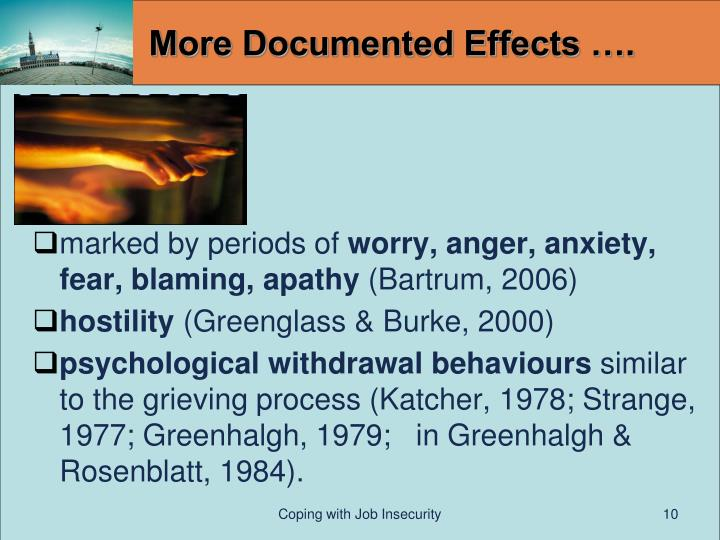 More Documented Effects ….