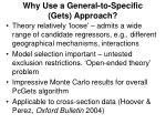 why use a general to specific gets approach