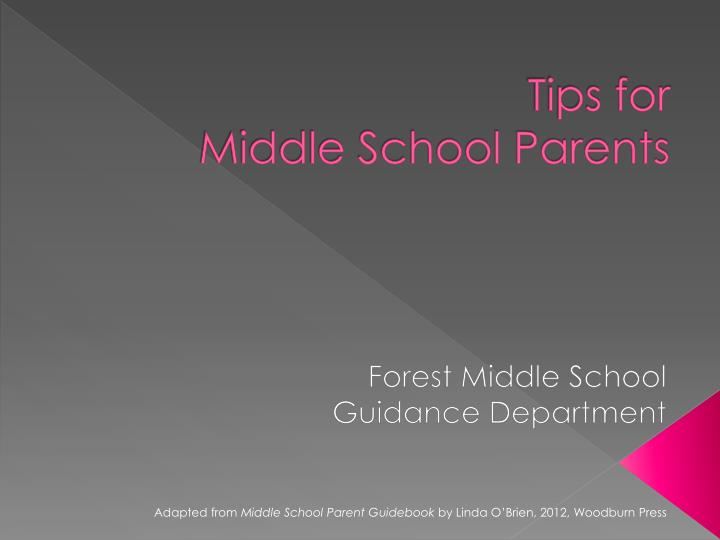 tips for middle school parents n.