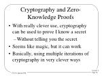cryptography and zero knowledge proofs