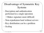 disadvantage of symmetric key systems