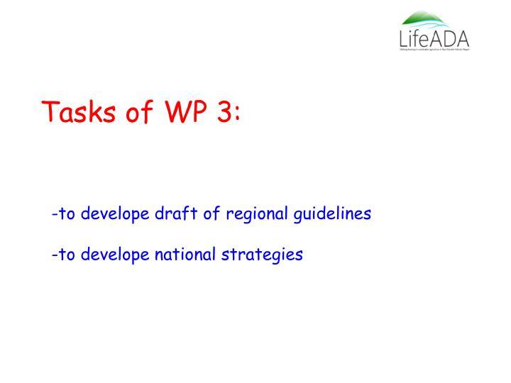 Tasks of wp 3