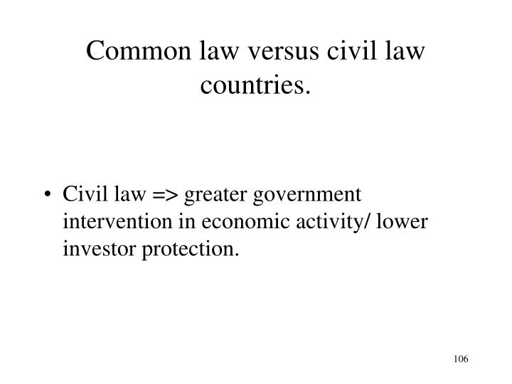 Common law versus civil law countries.