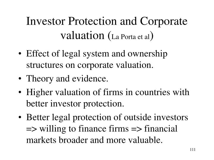 Investor Protection and Corporate valuation (
