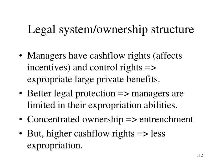 Legal system/ownership structure