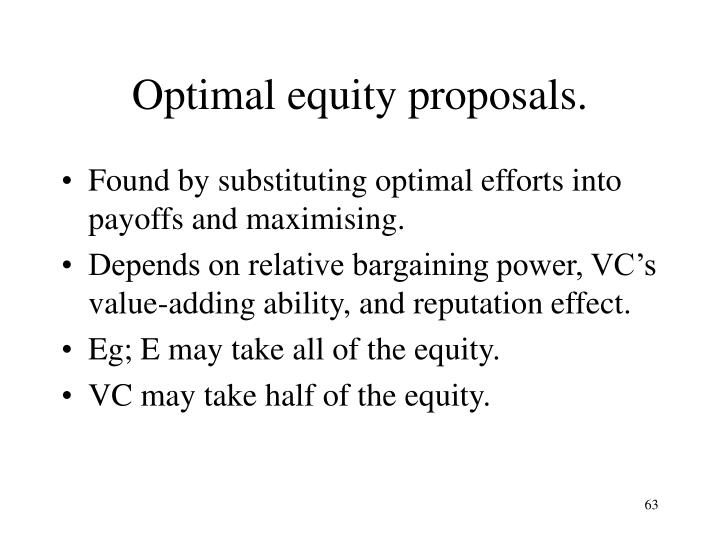Optimal equity proposals.