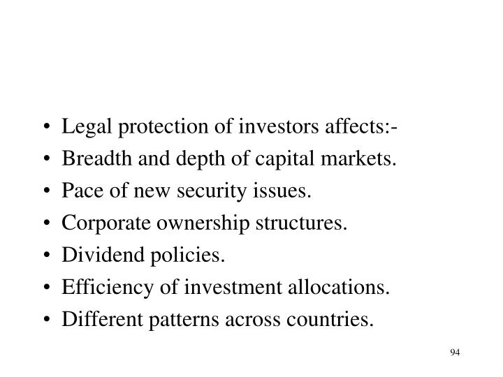 Legal protection of investors affects:-